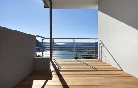 balcony view: Modern apartment, balcony, lake panoramic view
