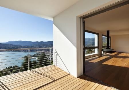 Modern apartment, balcony with panoramic view