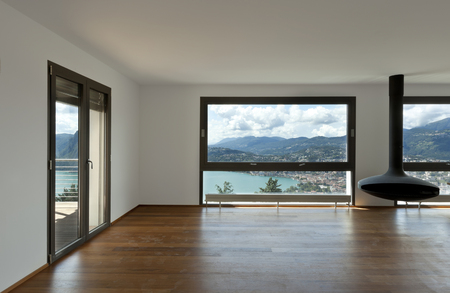 Modern apartment, large living room with panoramic view  photo