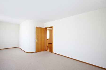 perspective room: new classic house, interior,empty room with door open