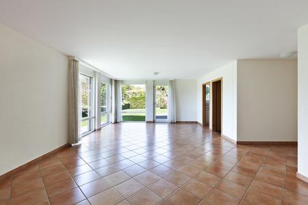 perspective room: room with terracotta floor, windows overlooking the garden