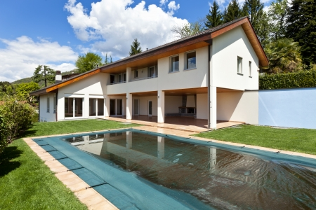 beautiful country house with swimming pool, outdoor  Stock Photo