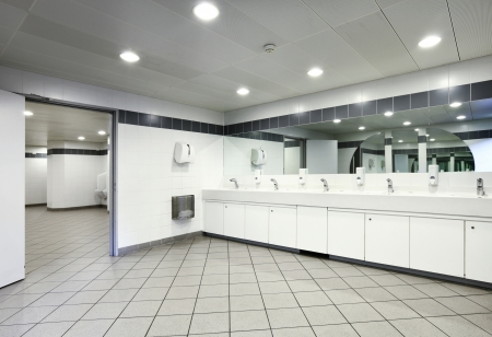 interior of a Congress Palace, public toilets Stock Photo
