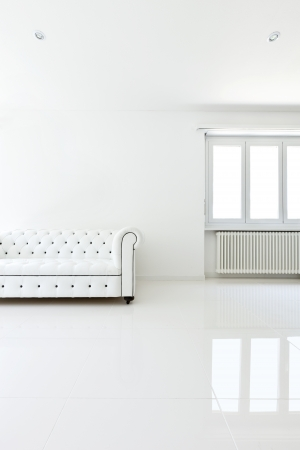interior, leather sofa  in white room photo