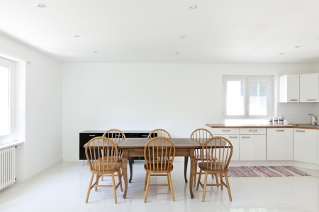 dining table and chairs: interior house, large modern kitchen, dining table