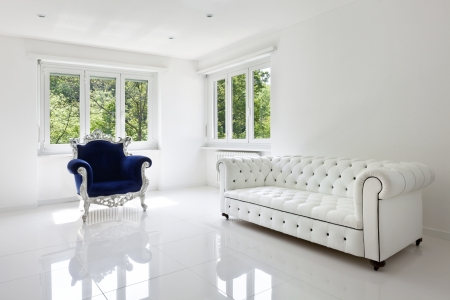 white room: leather sofa, armchair classical, in white room