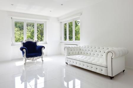sofá de cuero, un sillón, en la sala blanca clásica