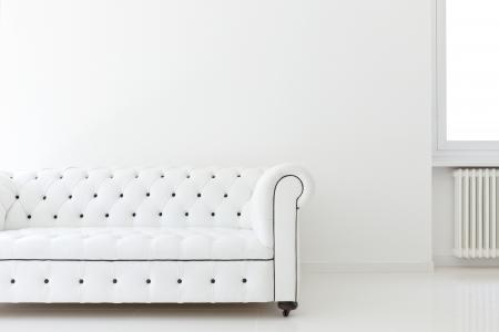 modern sofa: interior, leather sofa  in white room Stock Photo