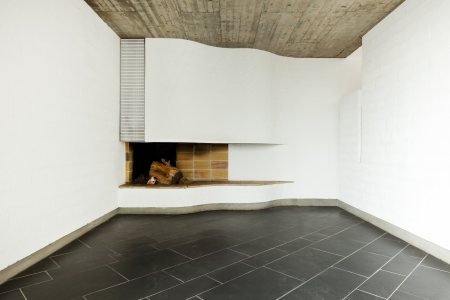 interior modern empty villa, room  fireplace photo