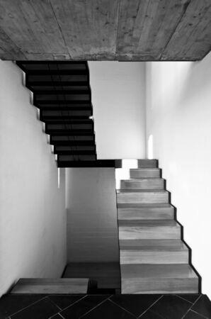 foyer: interior modern villa, passage, wooden staircase