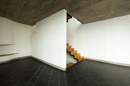ceiling tile: interior modern villa, living room, wooden staircase
