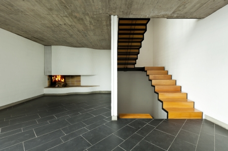 interior modern villa, passage, wooden staircase photo