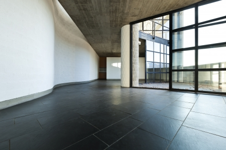 floor tiles: interior modern villa, passage and living room Stock Photo
