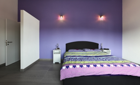 Interior design  purple modern Bedroom photo