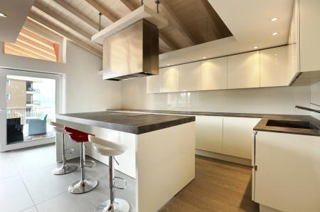 Elegant kitchen in the attic Stock Photo