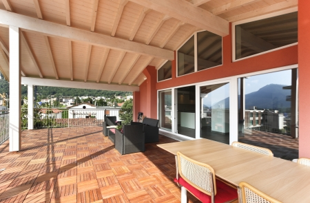 balcony with wooden floor, top floor photo