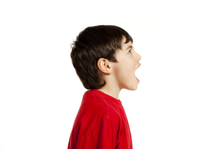 mouth to mouth: Portrait of adorable little boy, isolated on white background Stock Photo
