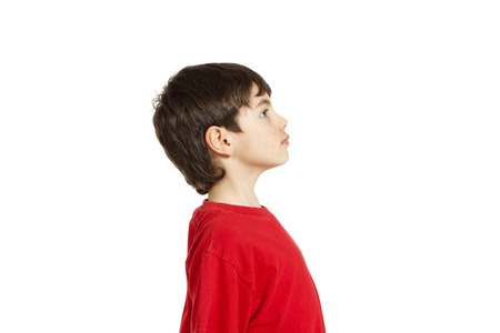 face side: Portrait of adorable little boy, isolated on white background