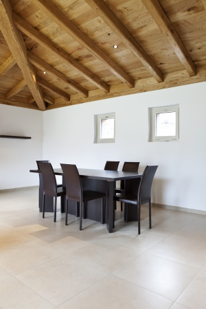 dining table and chairs: Modern loft apartment furnished, diningroom