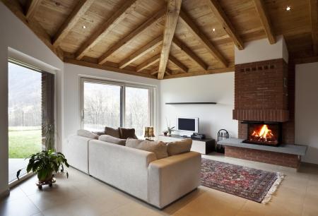 Appartement loft meublé, salon Banque d'images - 24193172