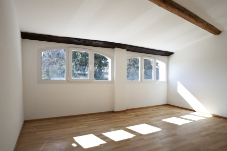 rustic house interior, empty space is not furnished photo