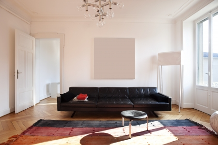 living room interior: Vintage apartment furnished, living room Stock Photo
