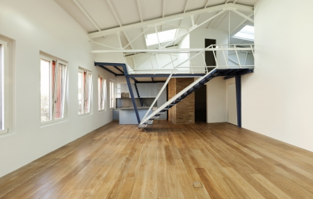 design moderno, appartamento con soppalco