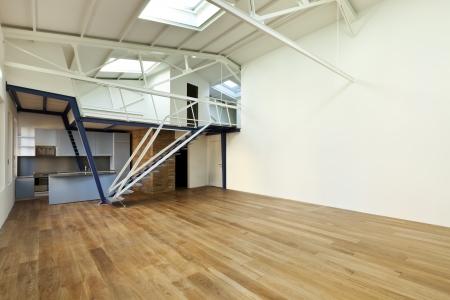 open floor plan: modern designer, apartment with mezzanine