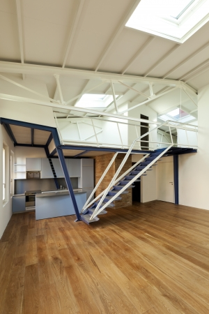 modern designer, apartment with mezzanine  photo
