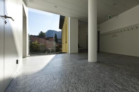 granite wall: building interior, granite floor, white wall