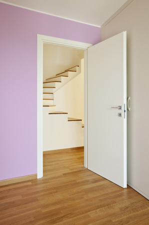 interior modern house, pink room with wooden floor  photo
