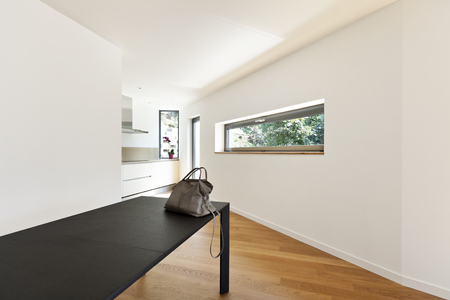 perspective room: interior modern house, empty room with black table