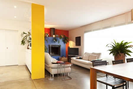 perspective room: comfortable modern apartment, hall view, living room background
