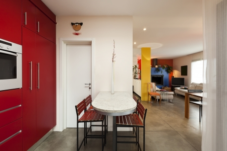 comfortable modern apartment,red kitchen photo