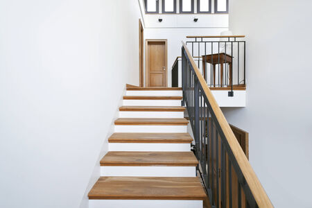 beautiful apartment, interior, wooden staircase  photo