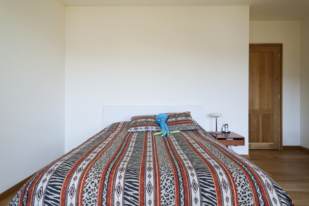 double bed: beautiful apartment, interior, bedroom Stock Photo