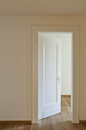 open doors: interior empty house with wooden floor, door open