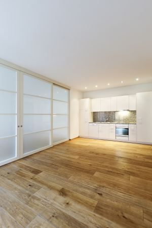 interior empty house with wooden floor, kitchen Stock Photo - 24967134
