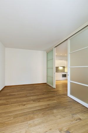 ordinary: interior empty house with wooden floor Stock Photo