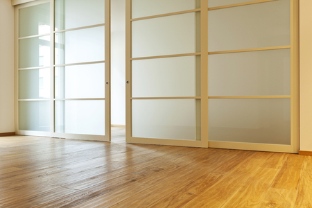 slide glass: interior empty house with wooden floor Stock Photo