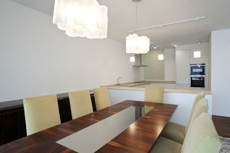 Modern house, dining room photo