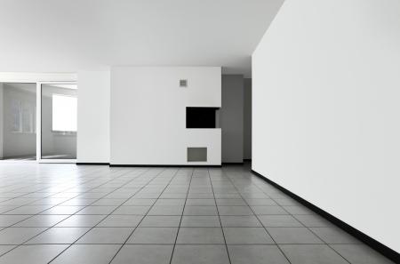 white tile: Interior of modern apartment, living room Stock Photo