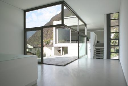veranda: villa design in concrete, interior view