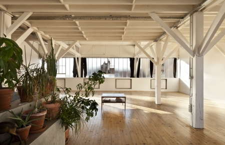 wide open space, beams and wooden floor photo
