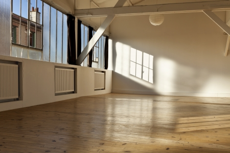 wide open spaces: wide open space, beams and wooden floor