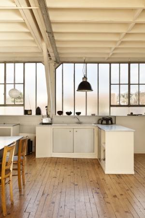interior, beautiful kitchen of an old loft photo
