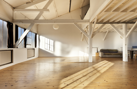 white room: wide open space, beams and wooden floor