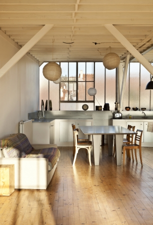interior wide loft, beams and wooden floor photo