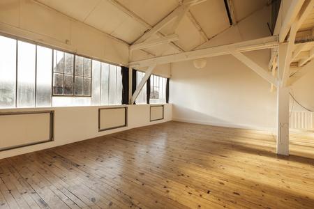 interior loft, beams and wooden floor