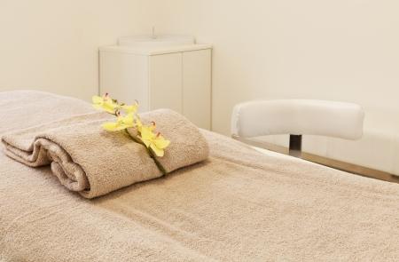 Interior of massage room in a spa salon Stock Photo